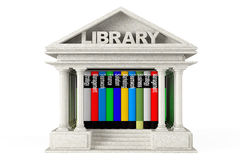 Closeup Library Building with Books Stock Photo