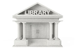Closeup Library Building. On a white background stock illustration