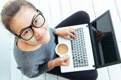 Closeup lifestyle women using laptop computer. Closeup lifestyle woman using laptop Stock Photo