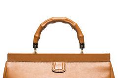 Closeup of light brown leather handbag handle Royalty Free Stock Photography