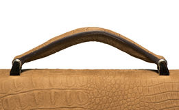 Closeup of light brown leather handbag handle Stock Photography