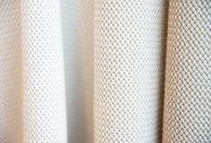 Closeup light grey white color fabric texture. Stock Photos