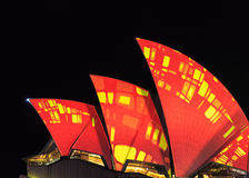 Closeup of light projections on Opera House Royalty Free Stock Photo
