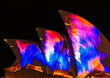 Closeup of light projections on Opera House Stock Photography