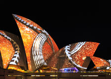 Closeup of light projections on Opera House Royalty Free Stock Images