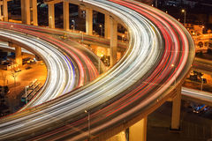 Closeup of the light trails on overpass Royalty Free Stock Photo
