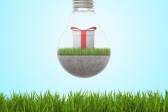 Closeup of lightbulb with ground, grass and giftbox inside, hanging above green lawn. Creative design. Gift ideas. Brighten up your day vector illustration