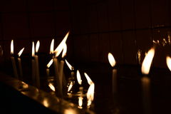 Closeup of lighted candles in a church in turkey Royalty Free Stock Photo