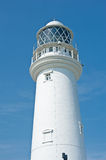 Closeup of a lighthouse. Closeup image of the lighthouse at Flamborough Head, near Bridlington,  in East Yorkshire, north of England Stock Photo