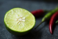 Closeup of lime and red chilli Royalty Free Stock Photography