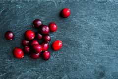 Closeup on lingonberries on stone substrate Royalty Free Stock Image