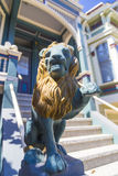 Closeup of a lion decoration on San Francisco Victorian house in Haight Ashbury, California USA Stock Photography