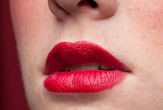 Closeup lips make-up zone. Mat red. Stock Photography