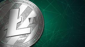 Closeup on Litecoin LTC with copyspace Royalty Free Stock Images