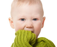 Closeup little baby boy portrait Stock Photos