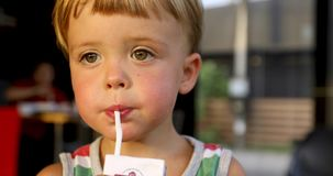 Closeup of little boy drinking milk with straw. Closeup of little boy drinking box milk with straw stock footage