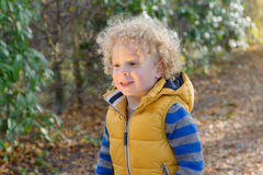 Closeup of little  cute boy with blonde curly hair Stock Image