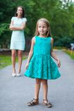 Closeup of little fashion girl on background of Stock Photography