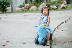 Closeup a little girl ride a bicycle toy for kid with happy face on cement floor in the park textured background with copy space stock photos