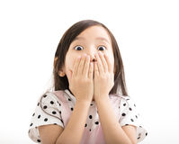 Closeup little girl with surprised face Stock Photography