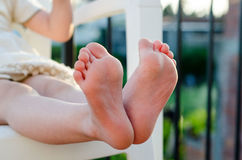 Closeup of little girls bare feet Royalty Free Stock Photo