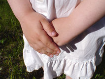 Closeup of Little Girls Hands Stock Image
