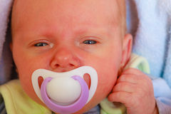 Closeup of little newborn lying with teat in mouth Royalty Free Stock Photos