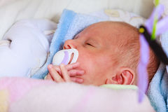 Closeup of little newborn sleeping with teat in mouth Royalty Free Stock Image