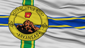 Closeup Little Rock Flag. Capital of Arkansas State, Flying in the Wind Stock Photos