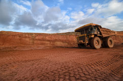 Closeup of a loaded tip-truck in an open mine. Mining technologies Stock Photography
