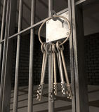 Jail Cell With Open Door And Bunch Of Keys stock photography