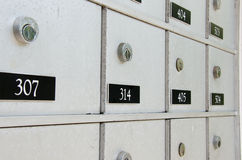 Closeup of locked metal apartment mailboxes Royalty Free Stock Photography