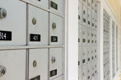 Closeup of metal apartment mailboxes with locks Royalty Free Stock Image