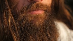 Long beard and hair man. Closeup of long beard and mustache man stock video