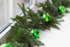 Closeup of long Christmas garland Stock Photography