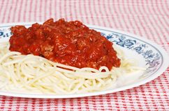 Closeup long noodle spaghetti with meat sauce Stock Image