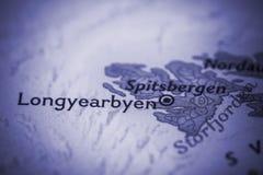 Longyearbyen on map. Closeup of Longyearbyen, Svalbard, Norway on a world map Stock Photos