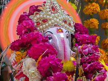 Closeup of Lord Ganesha, a hindu God of good luck royalty free stock photos