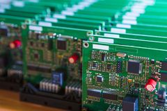 Closeup of Lot of Electronic Printed Circuit Boards