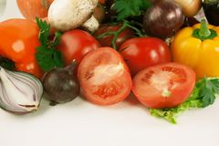 Closeup.lots of fresh vegetables.isolated on a white background. Photo with copy space Royalty Free Stock Photo