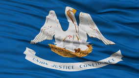 Closeup Louisiana Flag, USA state. Closeup Louisiana Flag on Flagpole, USA state, Waving in the Wind, High Resolution Royalty Free Stock Photo
