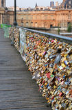 Closeup of Love Locks on the Pont des Arts Bridge, Paris France. Stock Photos