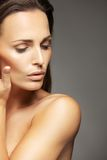 Closeup of a lovely unblemished woman's face Royalty Free Stock Images