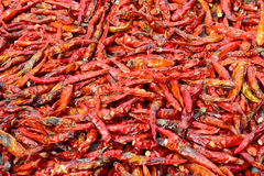 Closeup of low-grade  dried red peppers Stock Photo