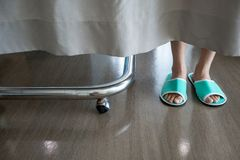Closeup low section of a person`s feet wearing green slipper beh royalty free stock images