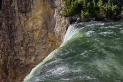Closeup of Lower Yellowstone Falls in Yellowstone National Park, Wyoming. Closeup of Lower Yellowstone Falls in Yellowstone National Park, Wyoming Royalty Free Stock Photography