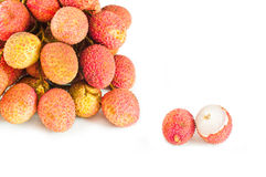 Closeup of  lychees Royalty Free Stock Image