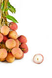 Closeup of  lychees on white background Royalty Free Stock Images