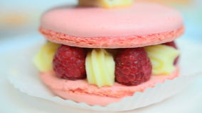 Closeup of macaron d'Ispahan