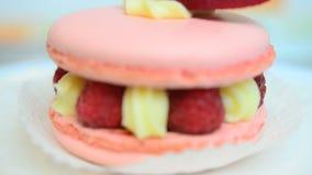 Closeup of macaron d'Ispahan stock video